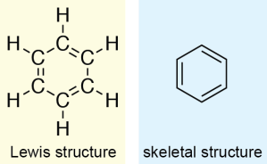 Benzene Lewis and skeletal structures